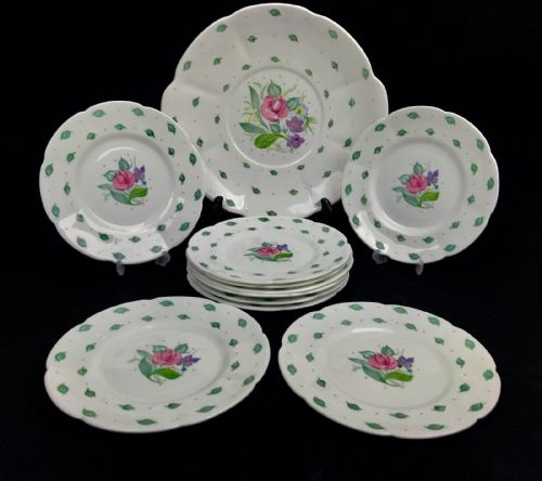 Susie Cooper Vintage Tea Set Side Plates Set of 6 And Cake Plate / Floral